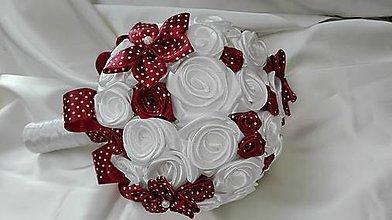 Kytice pre nevestu - Bieločervená bodkovaná kytička - 6729679_