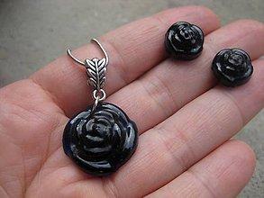 Sady šperkov - Ruže - sada (Tmavomodrá ruža - sada zo živice akcia č.472) - 6730182_