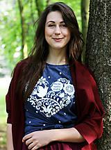 Tričká - Dámske tričko modré melírové VIERA, NÁDEJ, LÁSKA - 6730691_