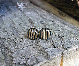Náušnice - Krúžky 9 mm s kovovým efektom (pásikované) - 6733635_