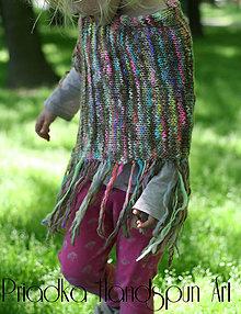 Detské oblečenie - Svetrík-pončo z ručne pradenej merino vlny - indiánske - 6734640_