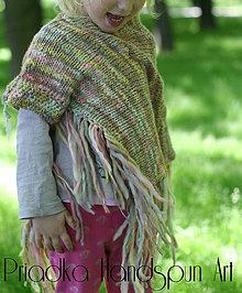 Detské oblečenie - Svetrík-pončo z ručne pradenej merino vlny - indiánske - 6734793_