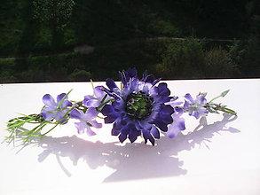 """Ozdoby do vlasov - Kvetinový štvrťvenček do vlasov """"Modrá nevädza..."""" - 6735384_"""