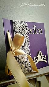 Papiernictvo - Elegantné blahoželanie k svadbe (fialové) - 6732974_