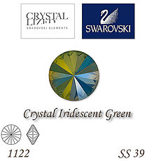 Korálky - SWAROVSKI® ELEMENTS 1122 Rivoli - Crystal Iridescent Green, SS 39(8mm), bal.1ks - 6735377_