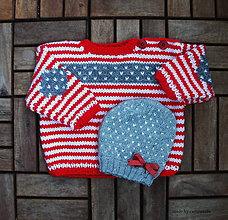 Detské oblečenie - Detský sveter pletený, so sivými laktíkmi - 6737382_