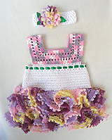 Detské oblečenie - Volánové šatôčky s čelenkou - 6739561_