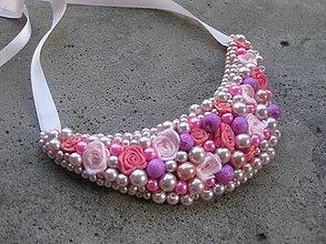 Náhrdelníky - FOR YOU perlový náhrdelník (summer pink roses - náhrdelník č.476) - 6740371_