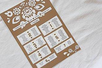 Papiernictvo - Zasadací poriadok na ľudovú svadbu - 6738881_