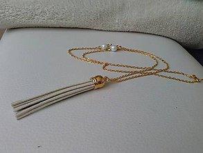 Náhrdelníky - Béžový strapec v zlatom - 6738963_