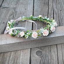 Ozdoby do vlasov - Romantický venček s ružičkami - 6742287_