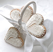 """Darčeky pre svadobčanov - Medovníkové svadobné srdiečka """"M+M"""" - 6743242_"""