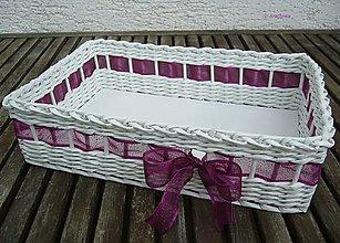 Dekorácie - Svadobný košíček 30x22x9 cm (fialková) - 6743664_