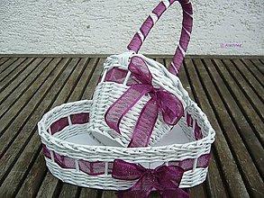 Dekorácie - Svadobné košíčky - menšie sady (fialková organza) - 6743726_