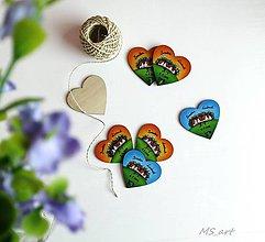 Darčeky pre svadobčanov - Svadobné drevené maľované srdiečka - 6743205_