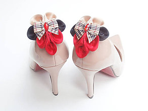 Obuv - Elegancia a la Chanel - červenočierne klipy na topánky s károvanou mašľou - 6744544_