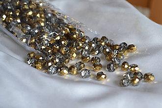 Korálky - Korálky sklenené brúsené polozlato 6mm, 0.35€/ks - 6743490_