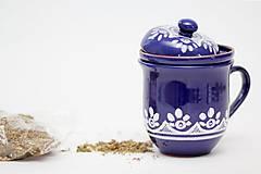 Nádoby - Kobaltový hrnček na sypaný čaj - 6746715_