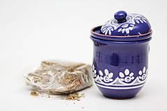 Nádoby - Kobaltový hrnček na sypaný čaj - 6746716_