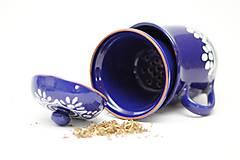 Nádoby - Kobaltový hrnček na sypaný čaj - 6746717_