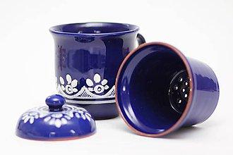Nádoby - Kobaltový hrnček na sypaný čaj - 6746714_
