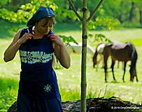 Dámske tričko šité, batikované, maľované, folk BYSTRINKA