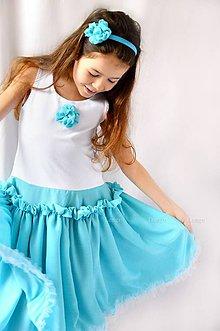 Detské oblečenie - šaty bavlna & šifón - Azúrové - 6748749_