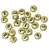 Zlaté korálky čísielka (balíček 100ks)