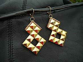 Náušnice - Náušnice ROCK pyramid GOLD - 6750527_