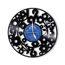 Hodiny - Vinylové hodiny flowers - 6750186_