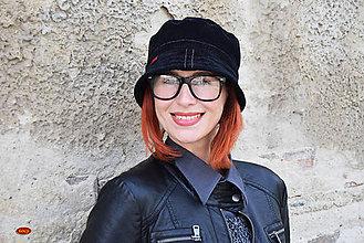 Čiapky - černý unisex manšestrový klobouk - 2 velikosti - 6752100_