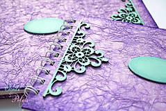 Papiernictvo - Fialová sada s mentolovou čipkou na vintage svadbu (album + kniha hostí) - 6752055_