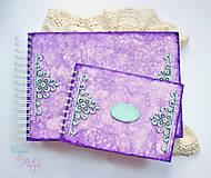 Papiernictvo - Fialová sada s mentolovou čipkou na vintage svadbu (album + kniha hostí) - 6752059_
