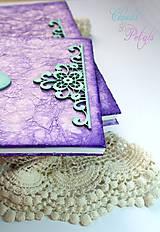 Papiernictvo - Fialová sada s mentolovou čipkou na vintage svadbu (album + kniha hostí) - 6752061_