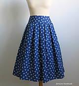Sukne - modrá folk skladaná sukňa - 6750491_