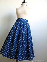 Sukne - modrá folk skladaná sukňa - 6750493_
