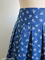 Sukne - modrá folk skladaná sukňa - 6750494_