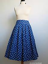 Sukne - modrá folk skladaná sukňa - 6750495_
