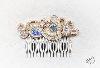 Ozdoby do vlasov - Svadobný šujtášový hrebienok - 6749884_
