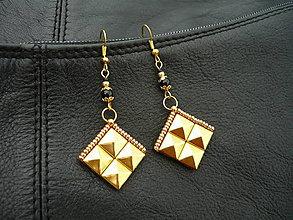 Náušnice - Náušnice ROCK pyramid GOLD - 6754871_
