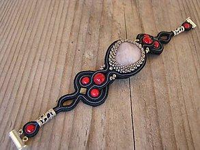 Šperky - Pánsky náramok s ruženínom a červeným koralom...soutache - 6756157_