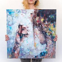 Obrazy - Autoportrét maľba vs. realita. 60x60, reprodukcia - 6754892_