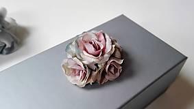 Krabičky - Darčeková krabička S ružičkami šedá. - 6757919_