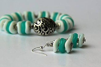 Sady šperkov - Náramok s náušničkami - tyrkys - 6759031_
