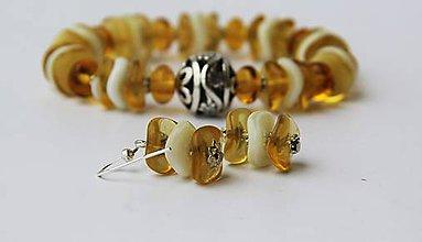 Sady šperkov - Náramok s náušničkami - medový - 6759065_