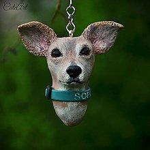 Kľúčenky - Kľúčenka s hlavičkou psa podľa fotografie - 6760910_