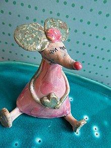 Dekorácie - figúrka - myš ružová - 6758344_