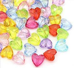 Korálky - Plastové korálky srdiečka (balíček 50ks) - 6760647_