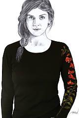 - Maľované tričko Papuľky - Antirrhinum - 6764302_