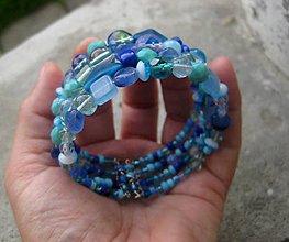 Náramky - Hrubý korálkový náramok (Otvárací náramok oceán č.478) - 6763169_
